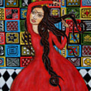 Frida Kahlo Flamenco Dancing  Art Print by Rain Ririn