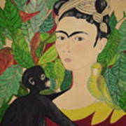 Frida With Monkey And Bird Art Print