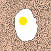 Fried Egg And Spaghetti In Tomato Sauce Art Print
