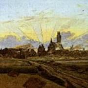Friedrich Caspar David Neubrandenburg In Flames Art Print