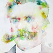 Friedrich Nietzsche - Watercolor Portrait.7 Art Print