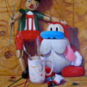 Friends 2  -  Pinocchio And Stimpy   Art Print