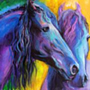 Friesian Horses Painting Art Print