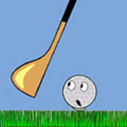 Frightened Golf Ball Art Print