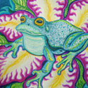 Frog And Flower Art Print