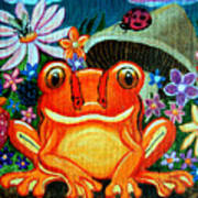 Frog And Flowers Art Print