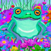 Frog And Spring Flowers Art Print