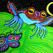 Frog Moon And Butterfly Art Print