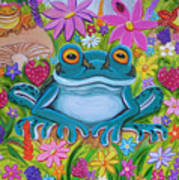 Frogs And Flowers Art Print