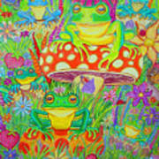 Frogs And Mushrooms Art Print
