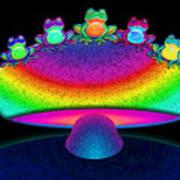 Frogs And Rainbow Mushroom Art Print
