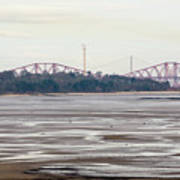 From Cramond To Forth Bridge, Forth Road Bridge, And Forth Crossing Art Print