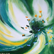 From The Heart Of A Flower Green Art Print