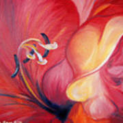 From The Heart Of A Flower Red Art Print