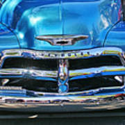 Front End Blue And Chrome Chevy Pick Up Art Print
