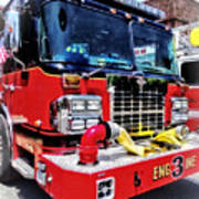 Front Of Fire Truck With Hose Art Print