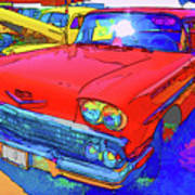 Front View Of Red Retro Car  Art Print