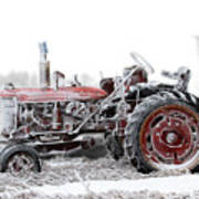 Frosty Tractor Art Print