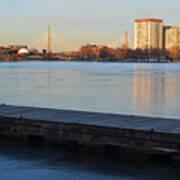 Frozen Dock On The Charles River Art Print