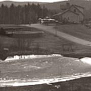 Frozen Pond Camp Ground Panorama Art Print