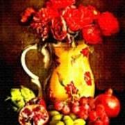 Fruit And Flower Still-life H B Art Print