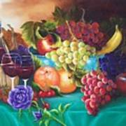 Fruit And Wine On Green Cloth Art Print