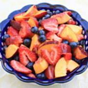 Fruit Salad In Blue Bowl Print by Carol Groenen