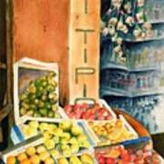 Fruit Shop In San Gimignano Art Print
