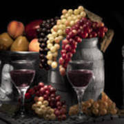 Fruity Wine Still Life Selective Coloring Art Print