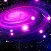 Fuchsia Pink Galaxy, Bright Stars Art Print