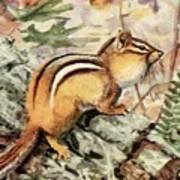 Fuertes, Louis Agassiz 1874-1927 - Burgess Animal Book For Children 1920 Striped Chipmunk Art Print