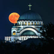 Full Blood Moon Over The Magnificent St. Sava Temple In Belgrade Art Print