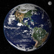 Full Earth Showing North And South Art Print