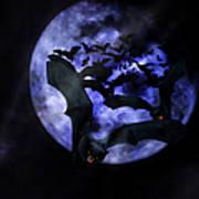 Full Moon Bats Art Print