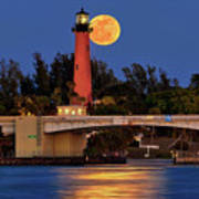 Full Moon Over Jupiter Lighthouse, Florida Art Print