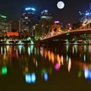 Full Moon Over Pittsburgh Art Print