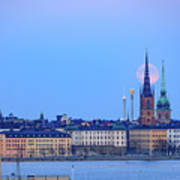 Full Moon Rising Over Gamla Stan Churches In Stockholm Art Print