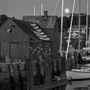 Full Moon Rising Over Motif  Number 1 Rockport Ma Black And White Art Print