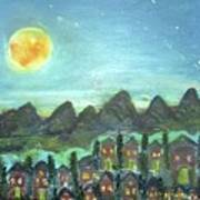 Full Moon Village Art Print