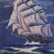 Full Sails Under Full Moon Art Print
