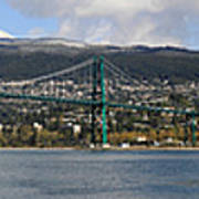 Full View Of The Lion's Gate Bridge Vancouver City  Art Print by Pierre Leclerc Photography