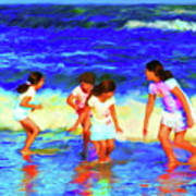 Fun At The Beach Art Print