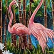 Fun Flamingos Art Print