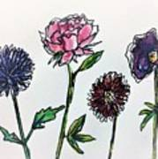 Four Flowers  Art Print