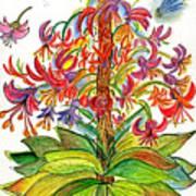 Funny Flowers On Green Plant Art Print