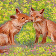 Funny Foxes .2007 Art Print