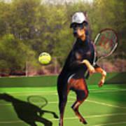 funny pet scene tennis playing Doberman Art Print