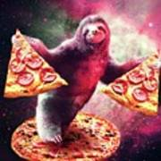 Funny Space Sloth With Pizza Art Print