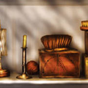 Furniture - Shelf - A Collection Of Curious Items Art Print by Mike Savad