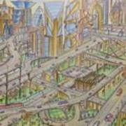 Future City After 50 Years Art Print